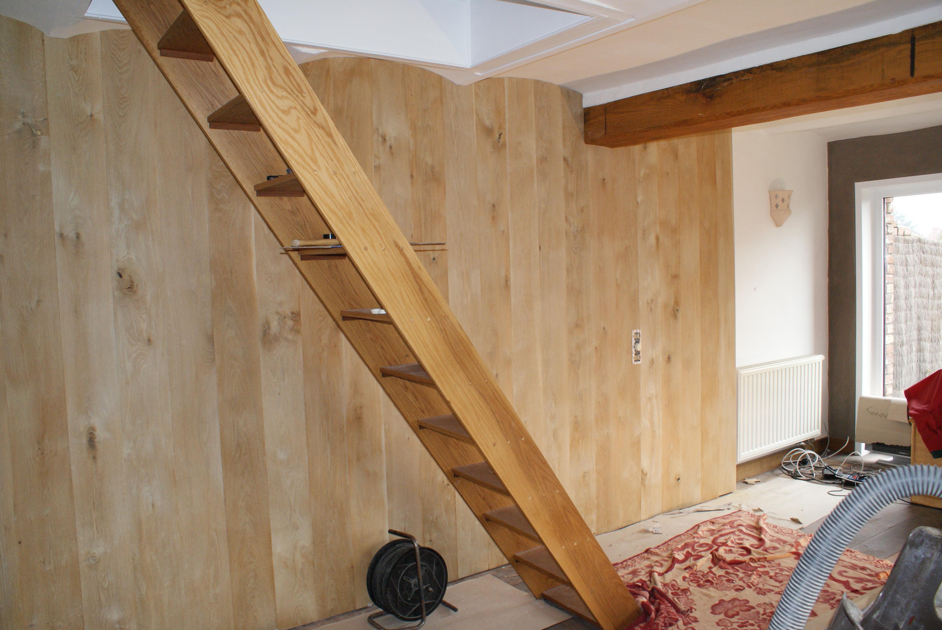 Habillage d 39 un mur avec parquet ch ne massif l gend non trait l 39 at - Habillage mur interieur bois ...