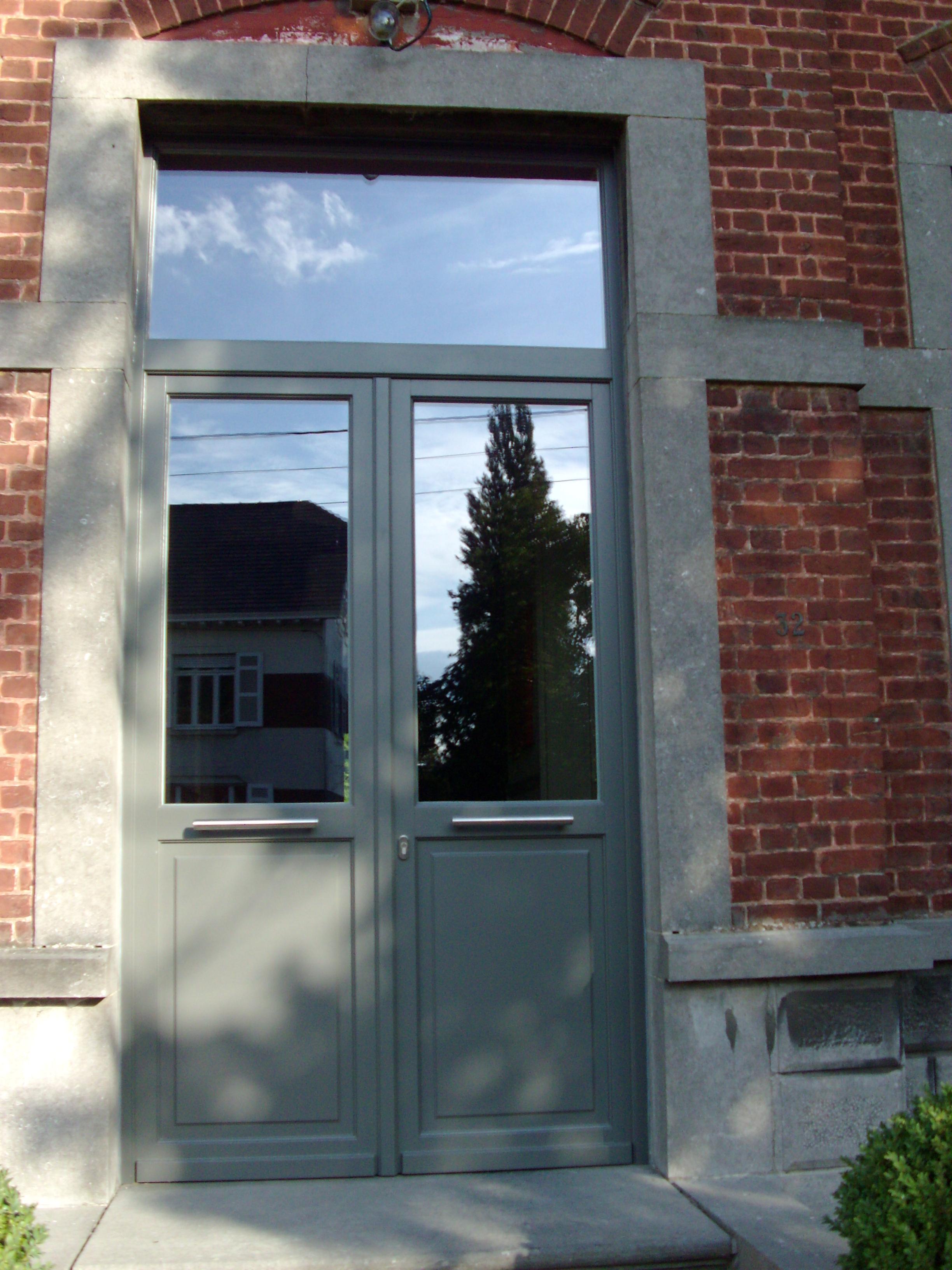 Double porte bois m ranti lasure gris quartz n739 panneau for Porte double en bois
