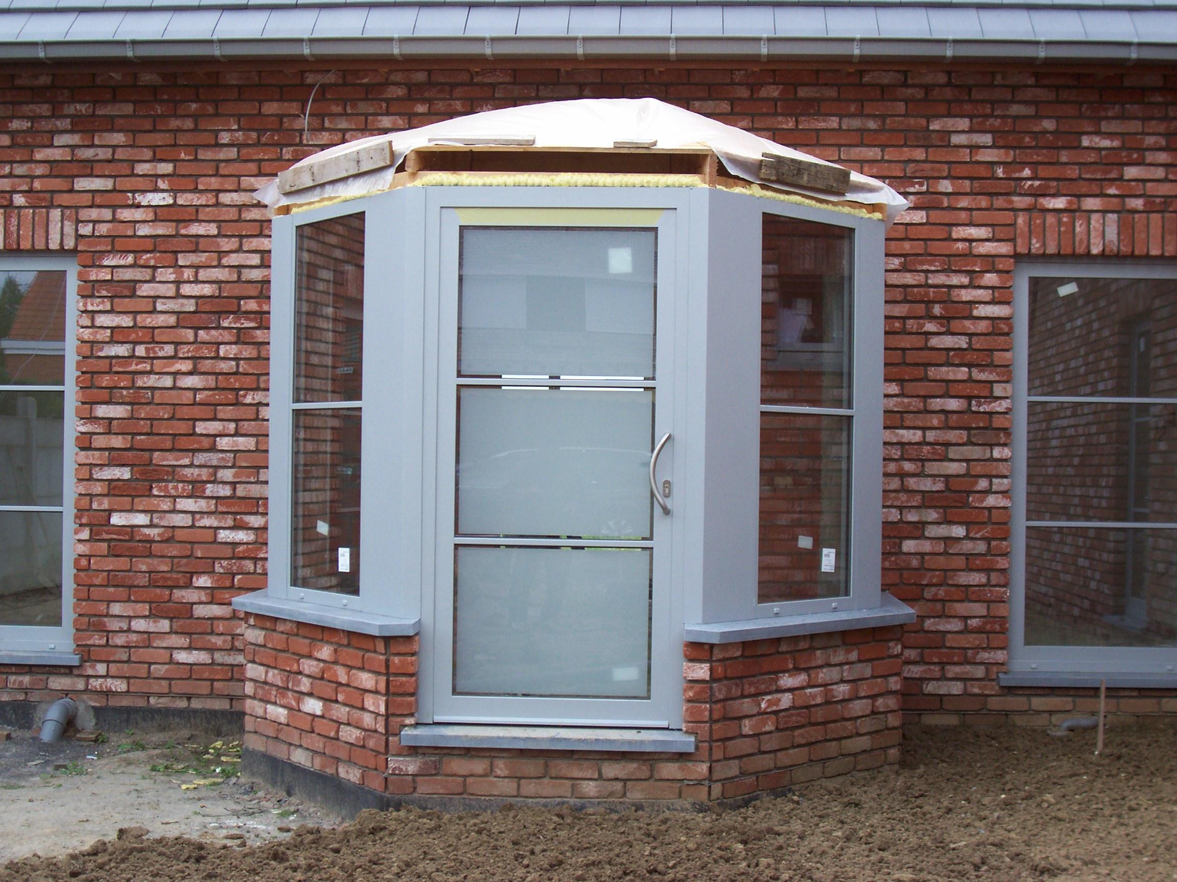 Porte alu en logia gris clair p701 vitrage sabl et for Porte de garage originale